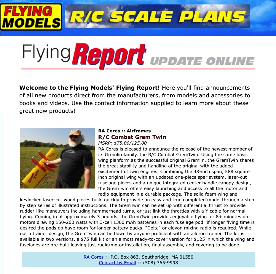 Flying Models Announcement